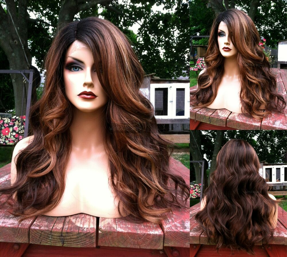 USA: Auburn Brown BABY HAIR Lace Front Curly HEAT OK Root ...