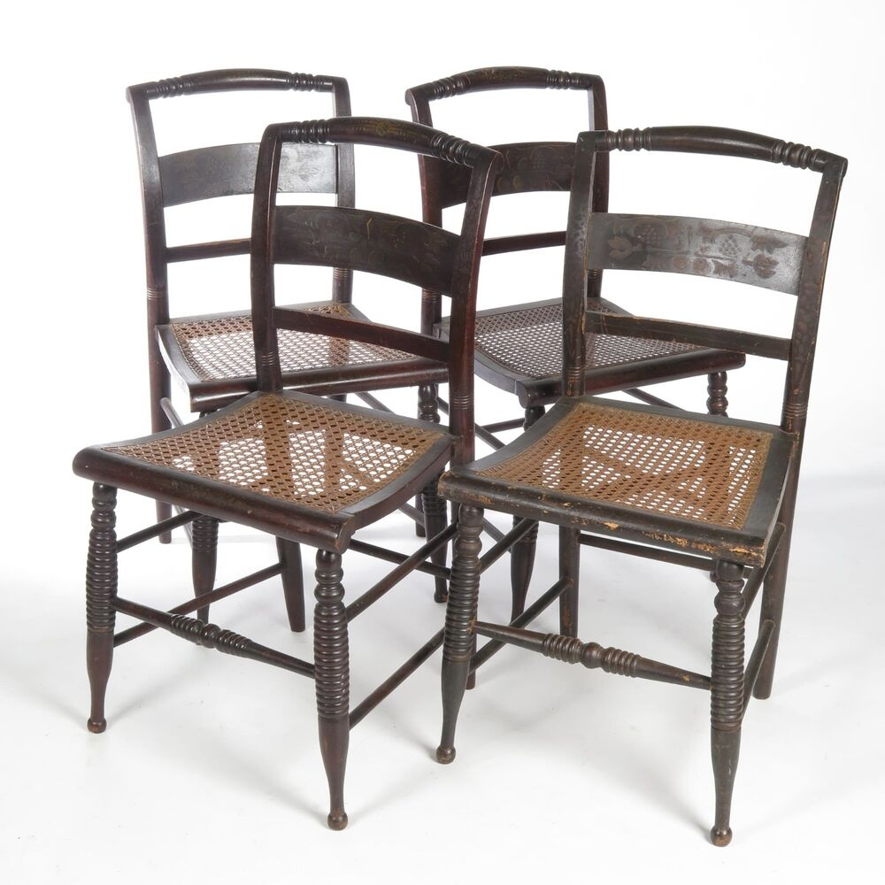antique 19th c black painted stenciled hitchcock style side chairs cane seats ebay. Black Bedroom Furniture Sets. Home Design Ideas