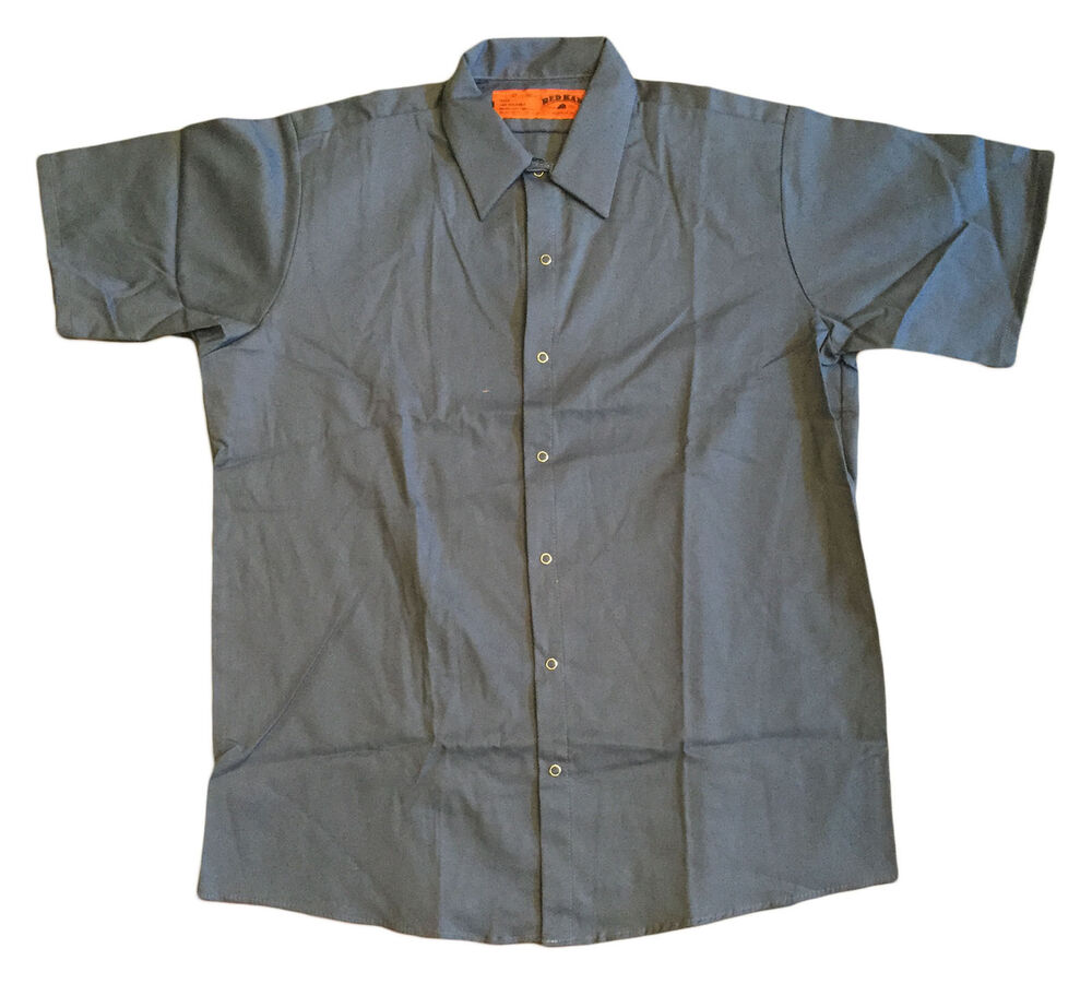New work shirt red kap postman blue short sleeve for Red kap mechanic shirts