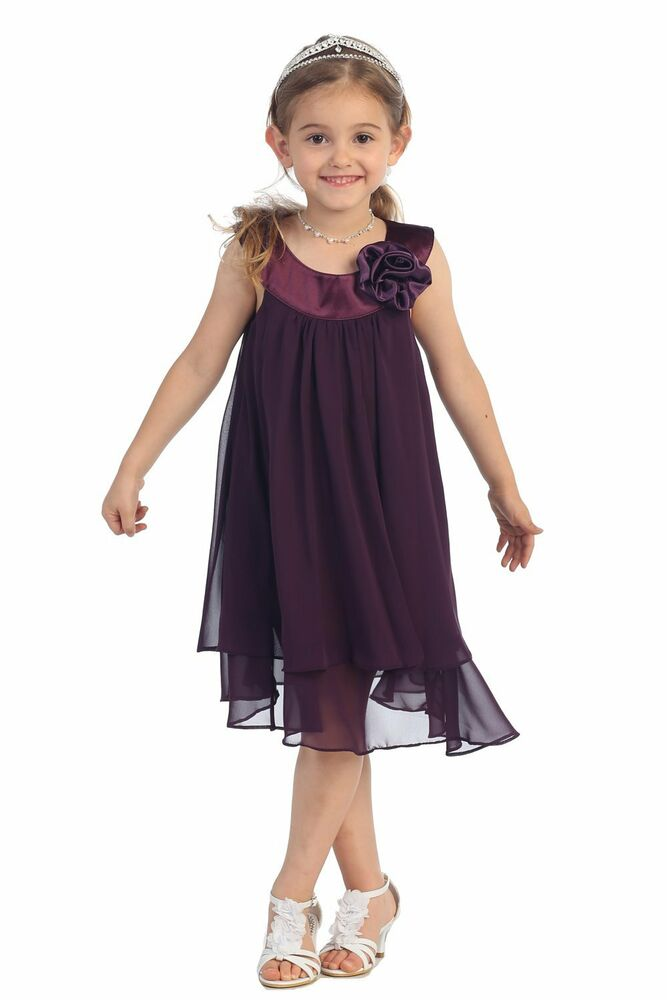 New Kids Dream Eggplant Crinkle Sheer Chiffon Dress With