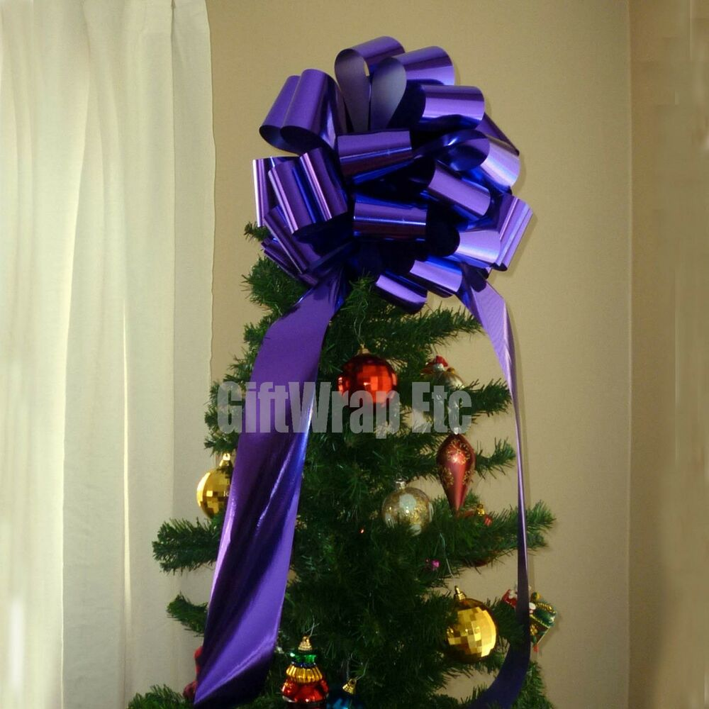 Christmas Tree Bows Decorations: Big Metallic Purple Bow Large Gift Bike Car Toy Christmas