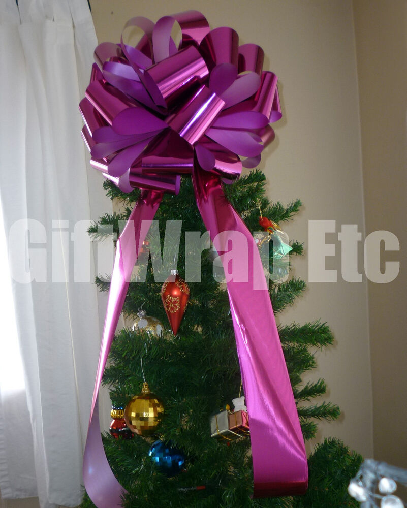 Bicycle Christmas Tree Decorations Ornaments: Big Metallic Hot Pink Bow Large Gift Bike Car Christmas