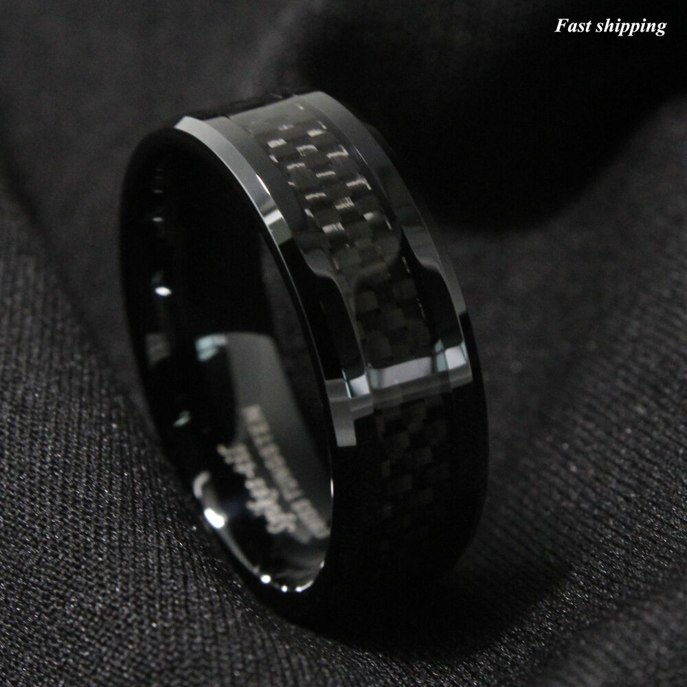 8mm tungsten carbide ring black carbon fiber inlay wedding for Black wedding ring men