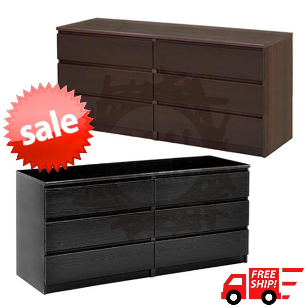 6 Drawer Dresser Bedroom Decor Chest Of Drawers Modern Furniture Black Or Brown Ebay