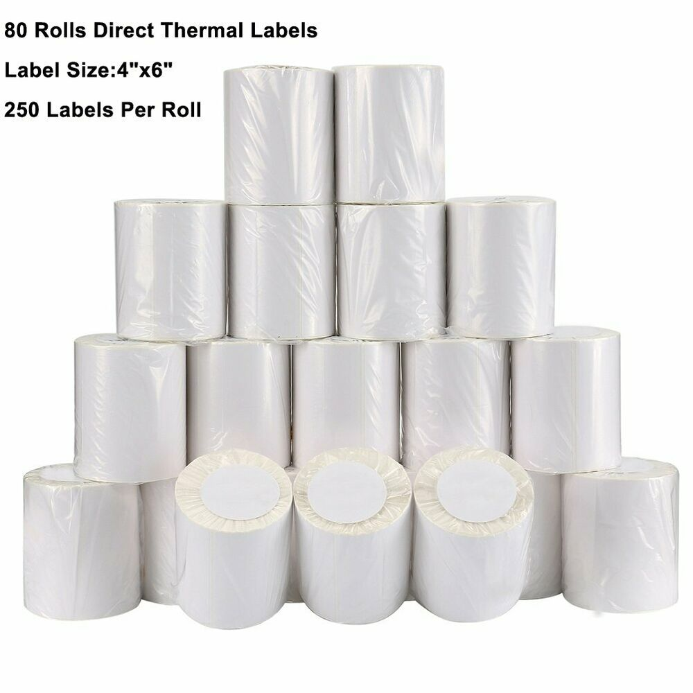80 Rolls 4x6 Direct Thermal Labels 250/Roll For Zebra Eltron LP2844 ...