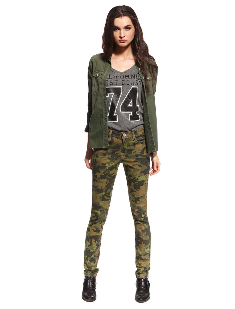 Womens Skinny Camo Jeans Military Ware Colored Camouflage ...
