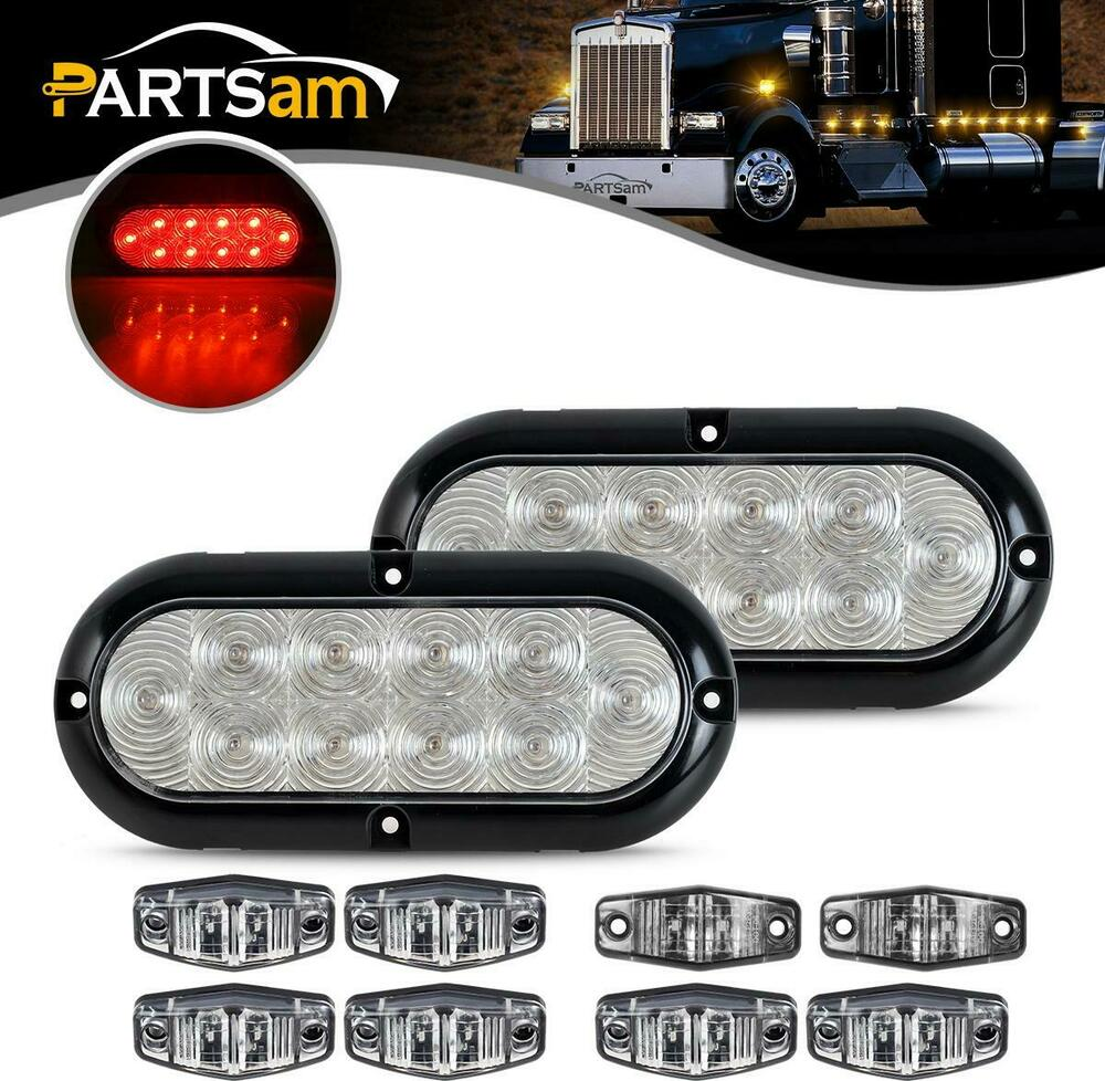 Trailer LED Light kit, Clear lens Red Stop Turn Tail ...