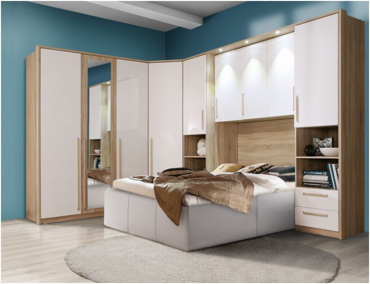 Cologne Overbed Unit Wardrobe White Gloss Amp Oak Bridge