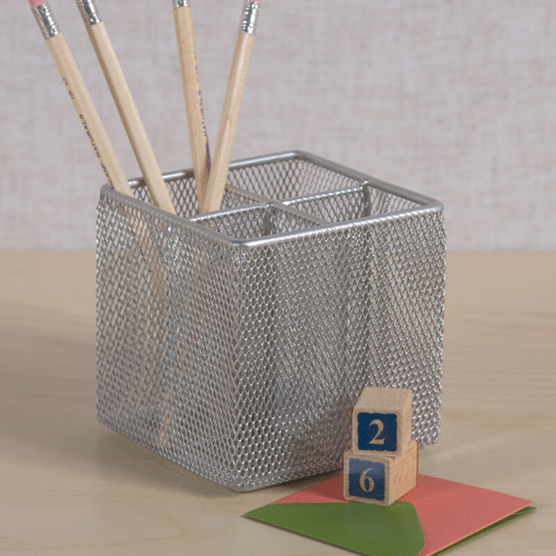 Silver Mesh Pen Pencil Cube Holder Rack Desk Office