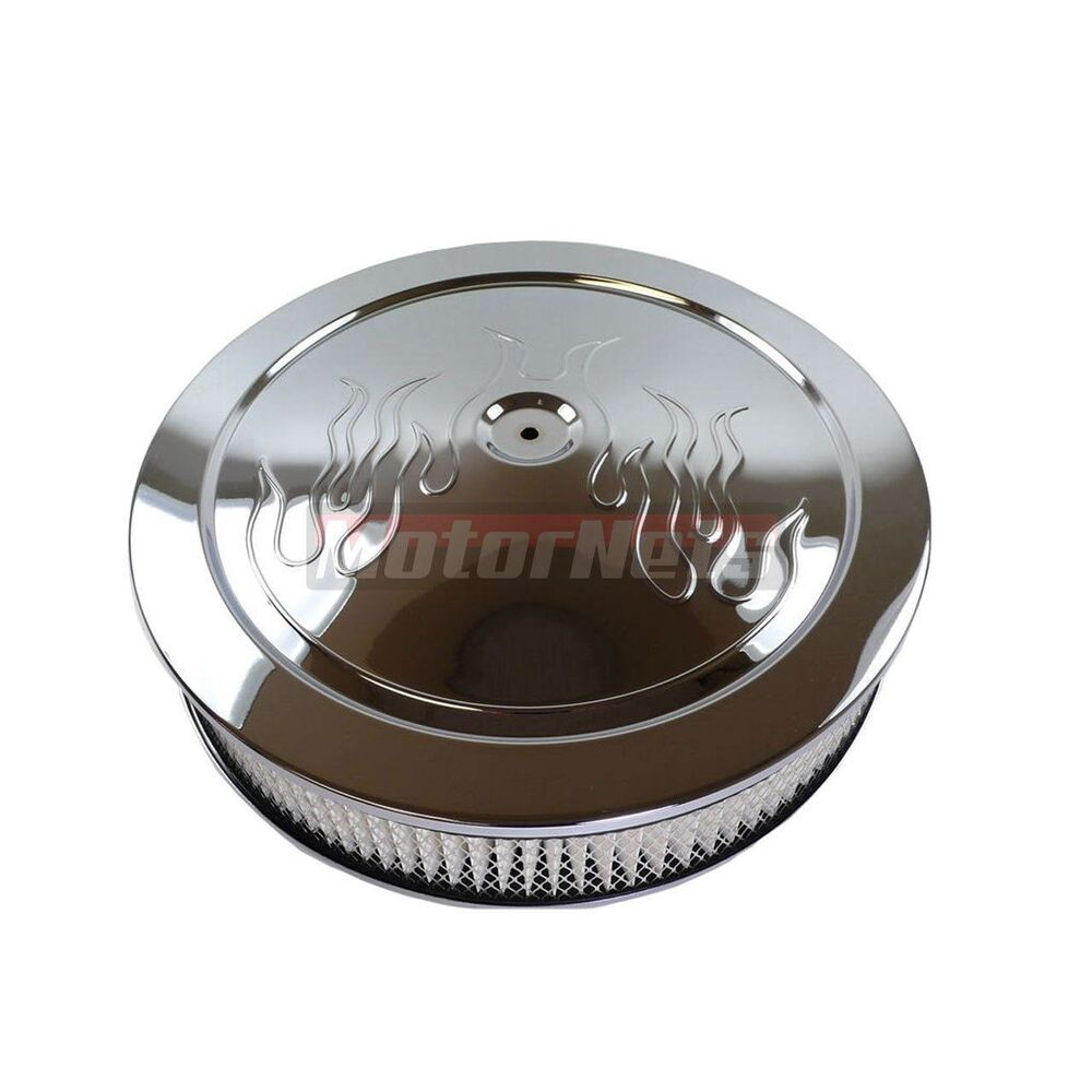 Muscle Car Engine Air Cleaners : Quot round flame chrome steel air cleaner muscle car style