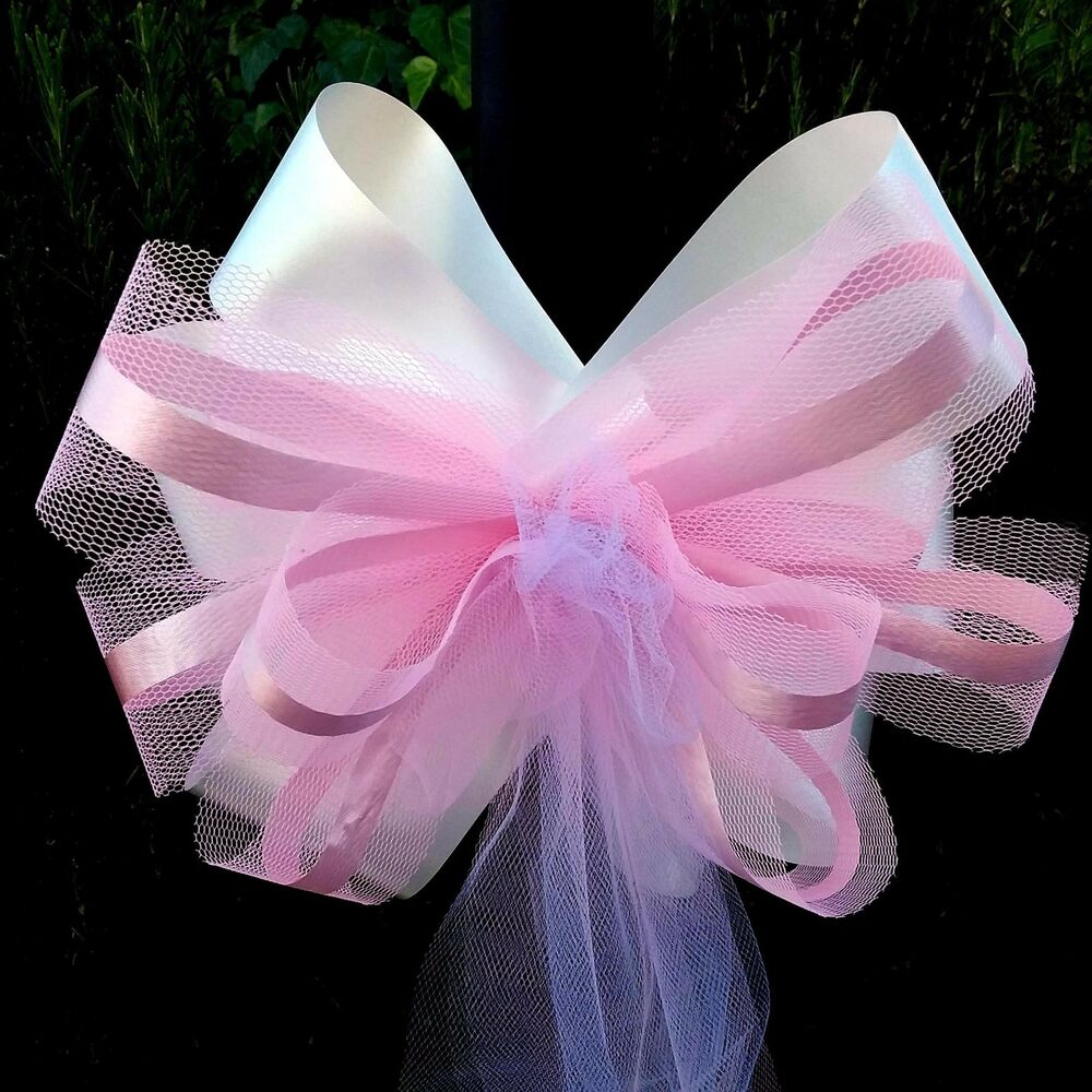 6 large 10 pink white tulle pew bows wedding church - Bow decorations for weddings ...