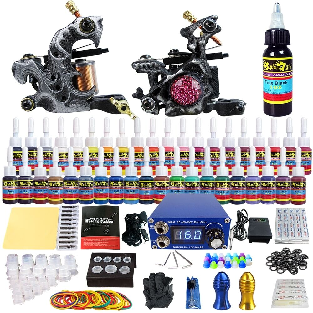 Solong complete tattoo kit 2 coil machine guns 40inks for Tattoo supplies ebay