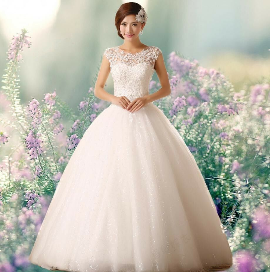 Wedding Gowns From China: Ball Gown Laee Elegant Bride White/red Wedding Dress Gown