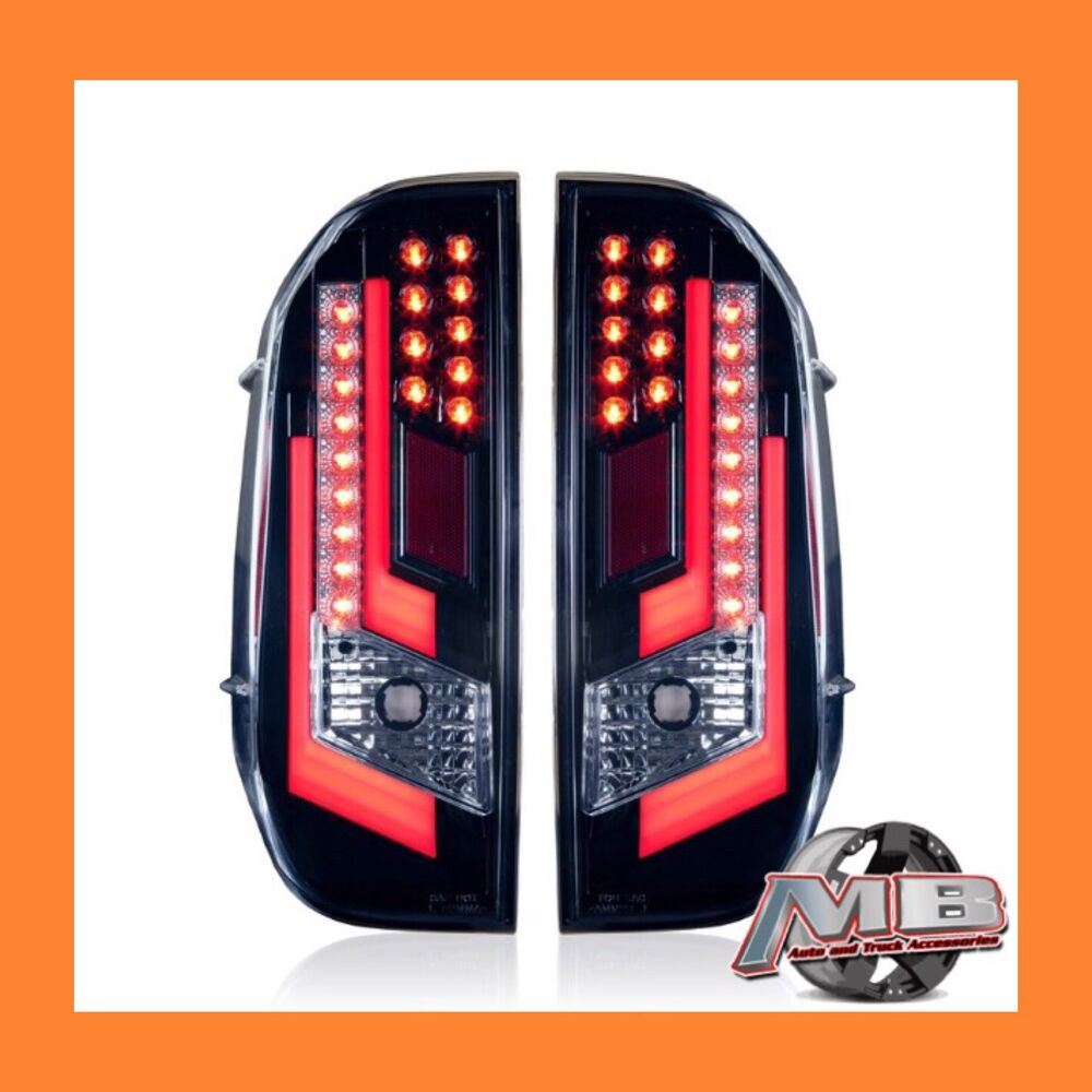 toyota tundra gloss black clear led tail lights 2014 2017 winjet wj20 0377 16 ebay. Black Bedroom Furniture Sets. Home Design Ideas