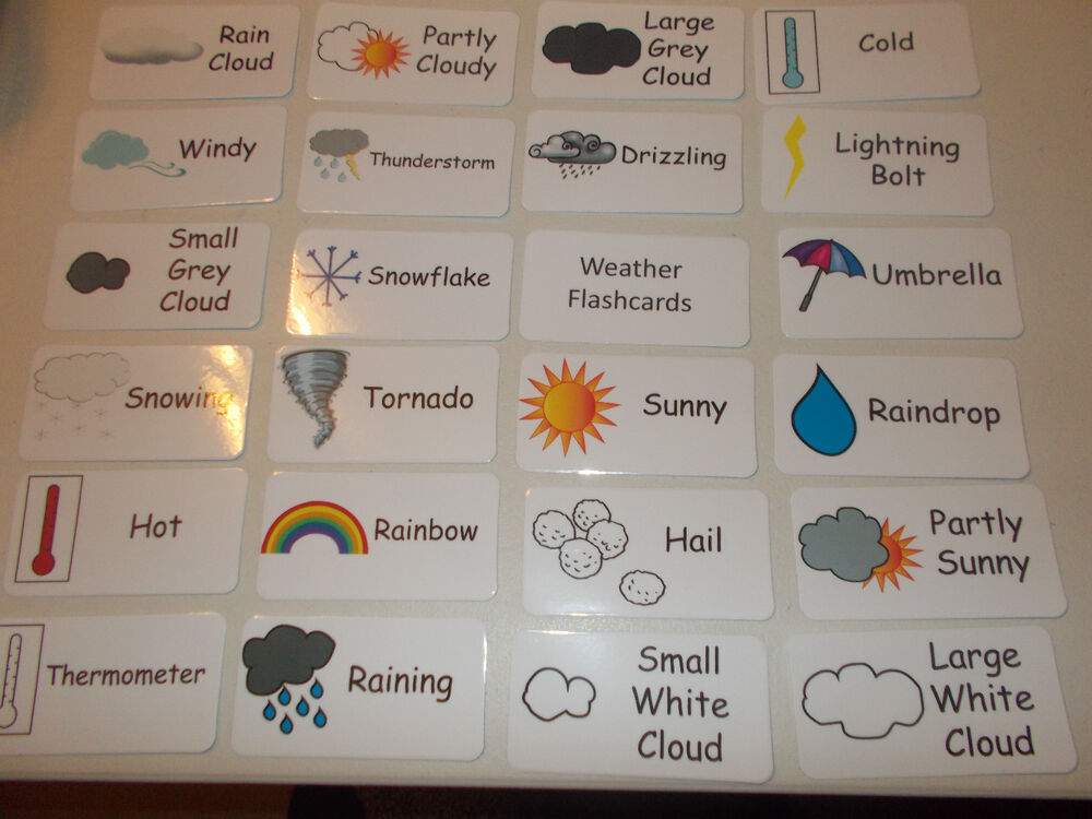Weather flash cards. Preschool and Pre Kindergarten ...