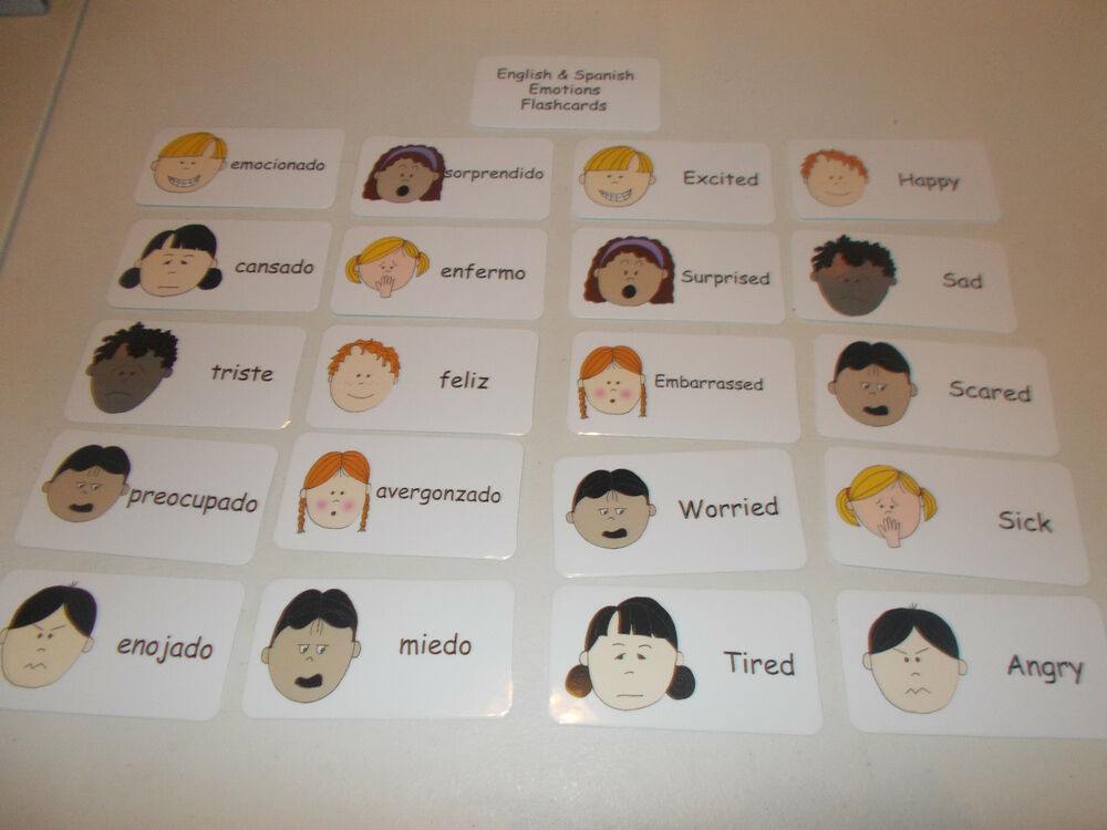 emotions flash cards in english and spanish 20 preschool emotions learning car ebay. Black Bedroom Furniture Sets. Home Design Ideas