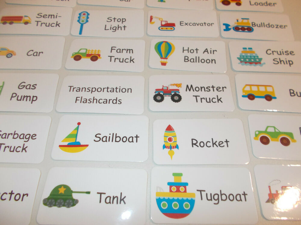 Transportation Flash Cards. Preschool Picture and Word ...