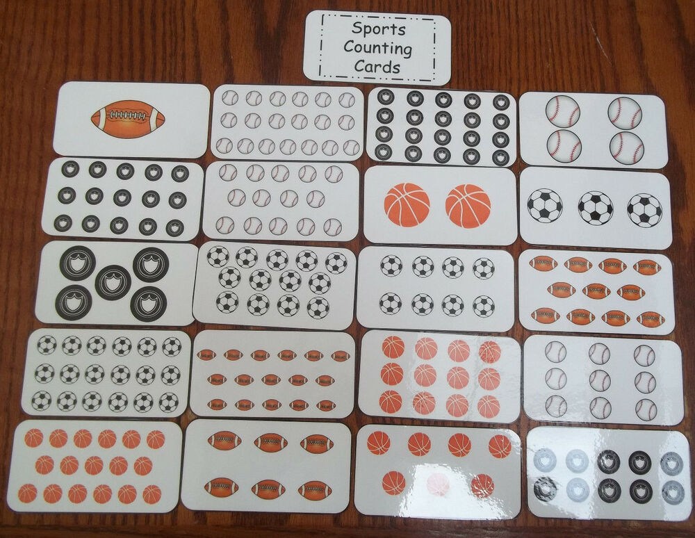 sports math counting cards preschool math flash cards learning activity for c ebay. Black Bedroom Furniture Sets. Home Design Ideas