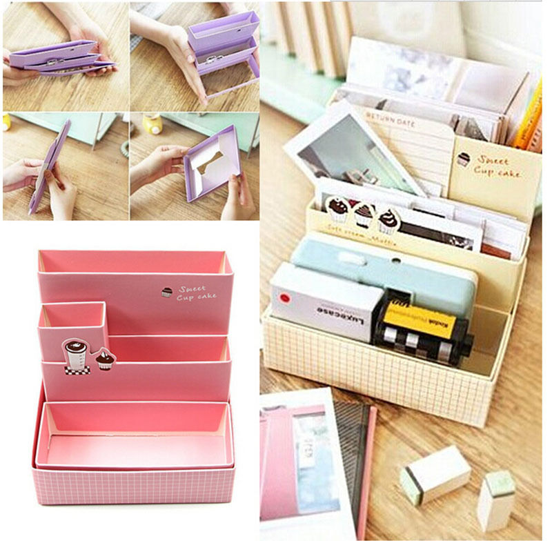 Hot diy paper board storage box desk decor stationery - Desk makeup organizer ...