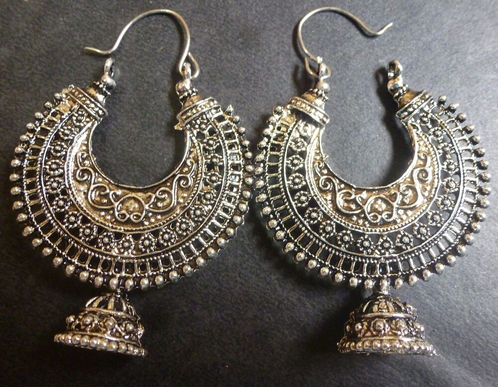earrings for vintage antique silver plated chand bali half circle 7351