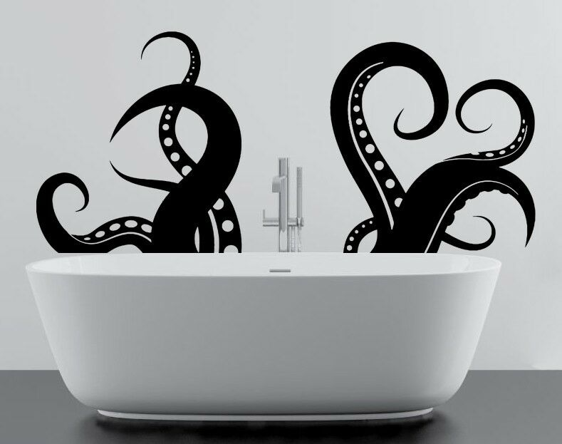 Vinyl wall decal octopus tentacles sea creature bathroom for Bathroom wall decor uk