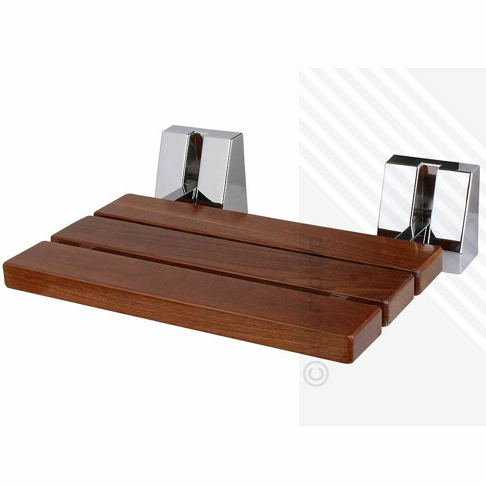 Wall Mounted Solid Wood Teak Folding Shower Seat Wooden