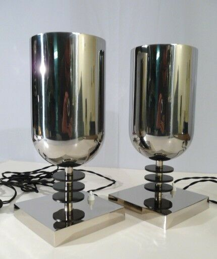 Pair bauhaus italian art deco style torchiere uplights for Bauhaus italia