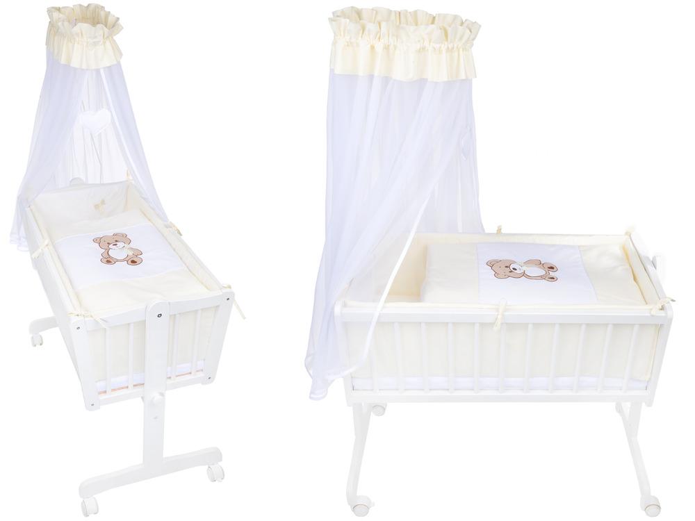 wiege schaukelwiege babywiege holz weiss bettset applikation matratze neu ebay. Black Bedroom Furniture Sets. Home Design Ideas