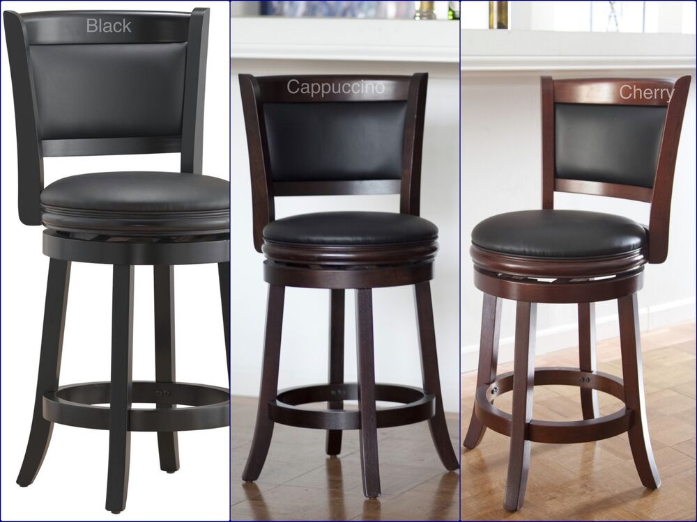 Counter Height Bar Stool Wood Kitchen Office Swivel Stool Chair Island Seats Ebay