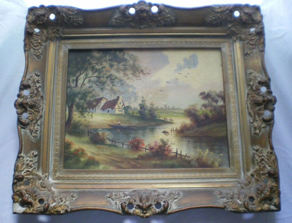 Antique oil painting on board landscape house lake for Oil paintings for the home