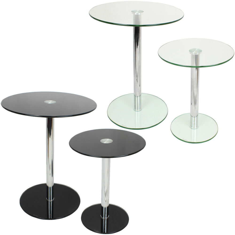 Set of 2 round glass tables home lounge living room side for Living room end table lamps