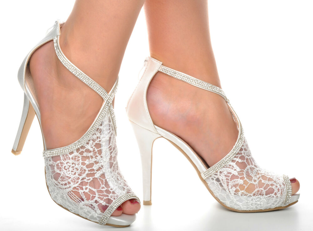 off white wedding shoes white lace diamante platform wedding sandals heels t 6227
