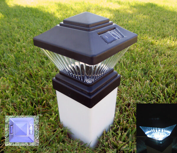 solar power path deck post cap light fence mount lamp black 4x4 ebay. Black Bedroom Furniture Sets. Home Design Ideas