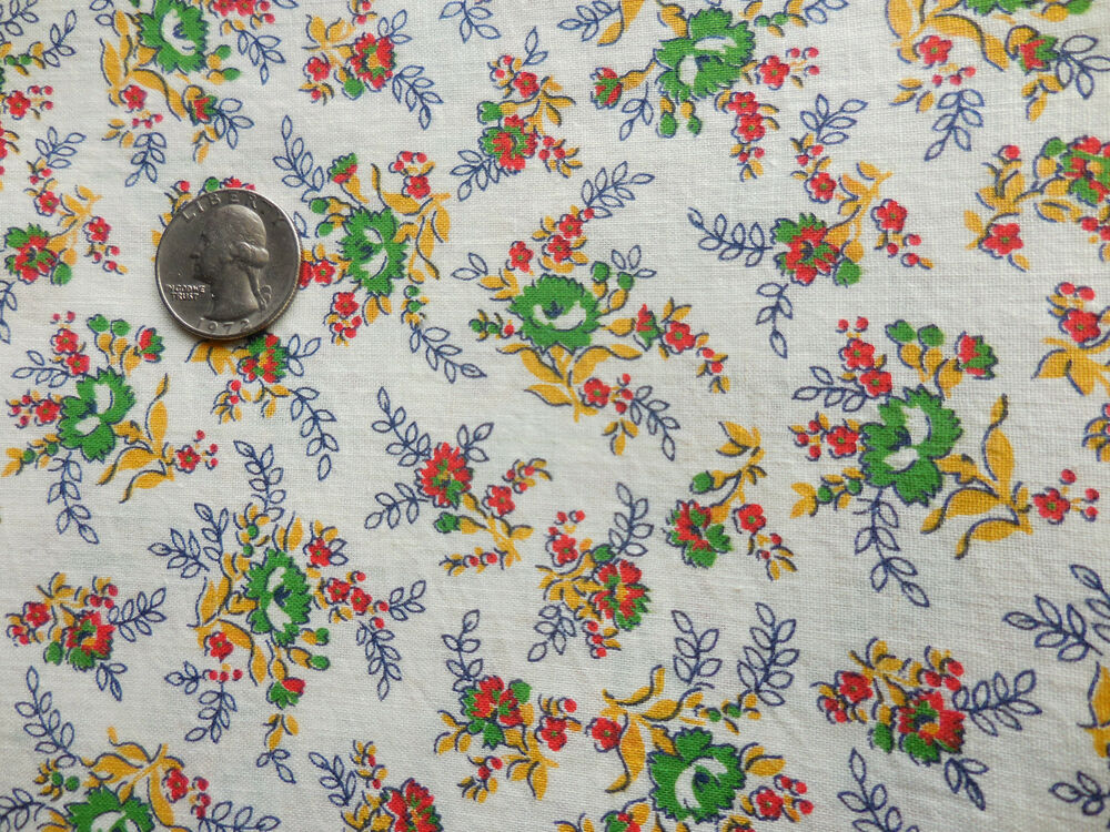 Vintage Cotton Quilt Fabric Sweet Small Floral Cottage ...