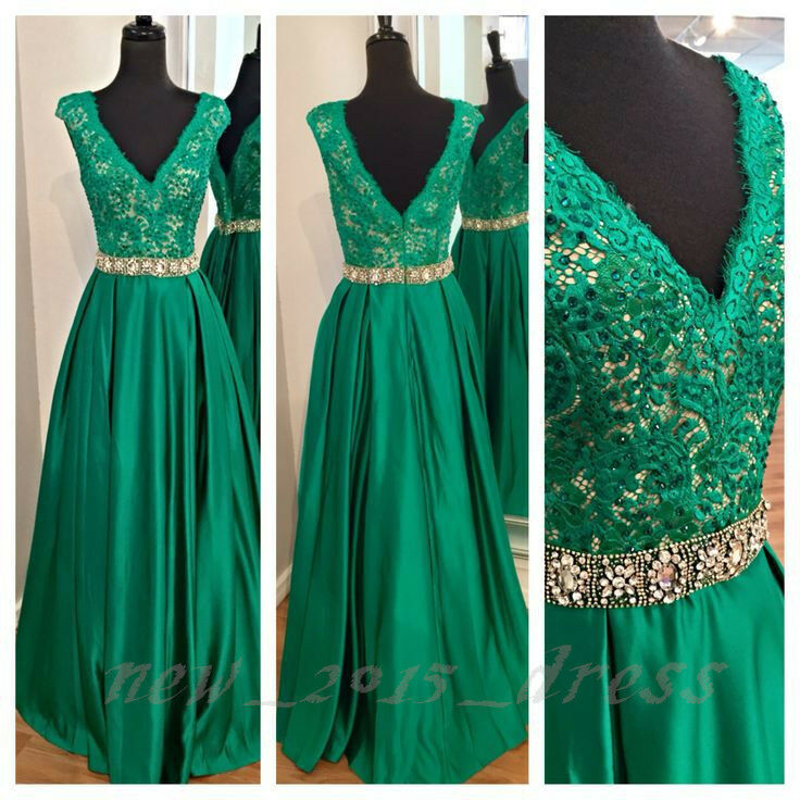 Emerald Green Lace V-neck Long Prom Dress Formal Pageant