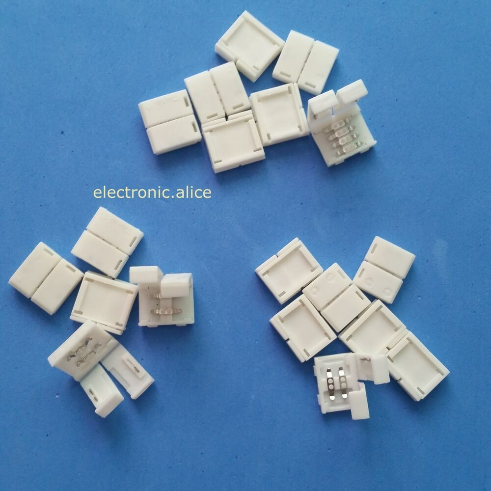 Solderless Clip On Coupler Connector 2pin 4pin Rgb For