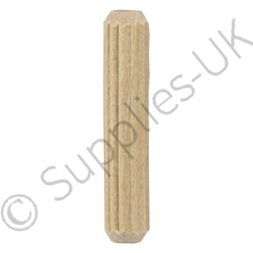 6mm X 30mm Wooden Dowel Pins Hardwood Fluted Grooved Plugs Furniture Joinery Ebay