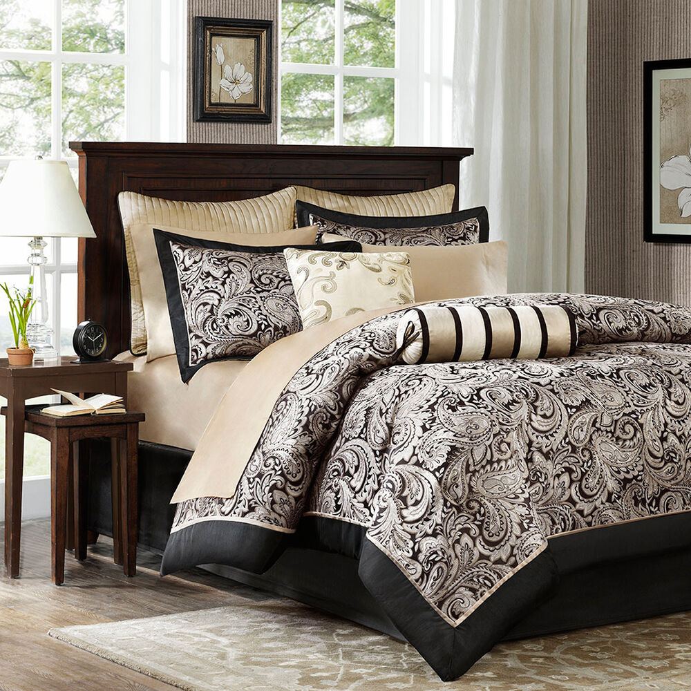 Beautiful 12pc luxurious elegant black gold silver grey comforter set sheets ebay for Beautiful bedroom comforter sets