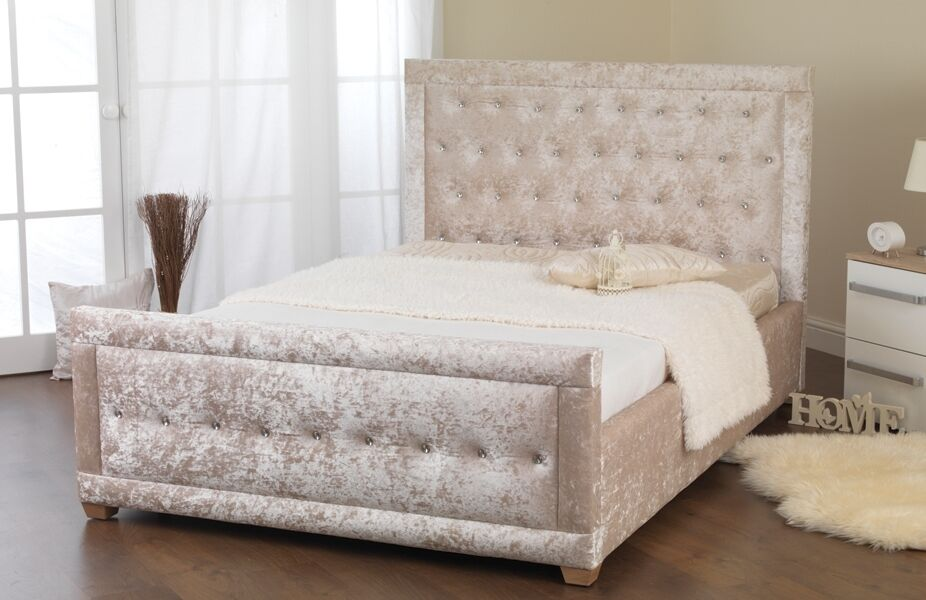 4ft6 cream ivory crushed velvet bed frame double crystals crush velvet bed ebay