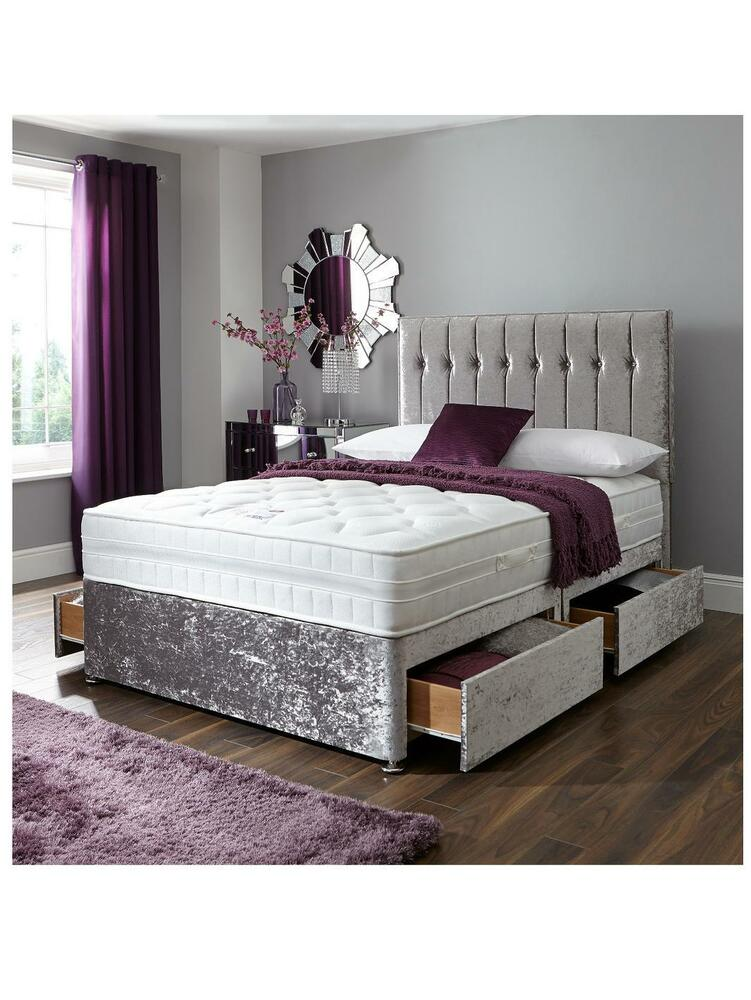 Double 4ft6 crushed velvet divan bed base storage draws for Double divan base and mattress