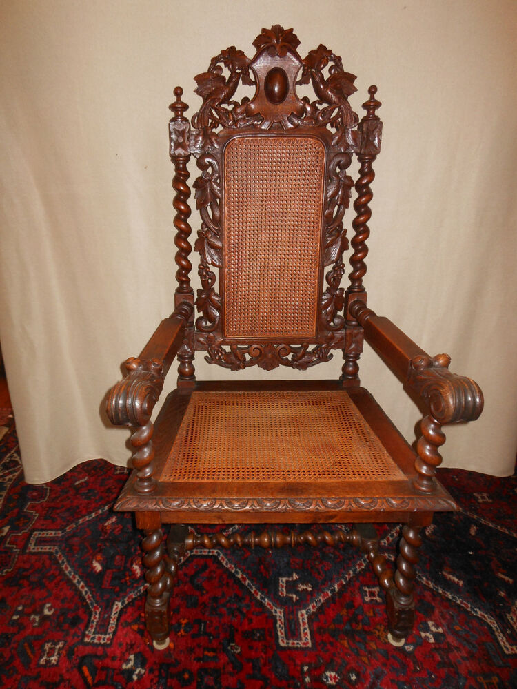 french renaissance heavily hand carved oak arm chair with original caning ebay. Black Bedroom Furniture Sets. Home Design Ideas