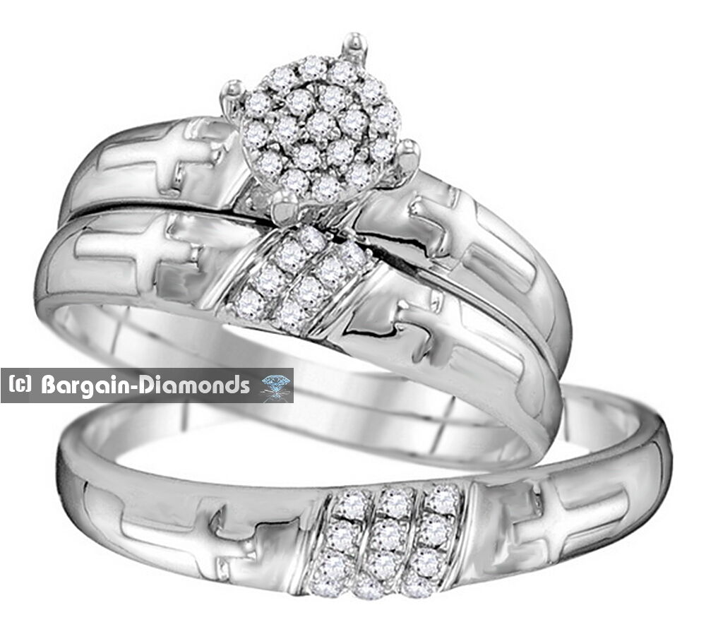 christian wedding rings sets 25 carat 3 ring 10k white gold wedding band set 2924