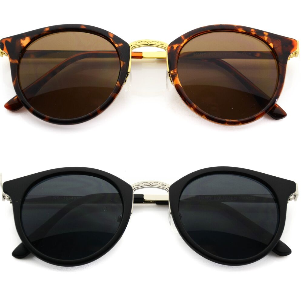 Vintage Retro Men Women Round Metal Frame Sunglasses ...