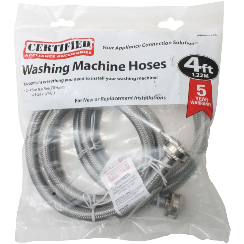 new certified appliance wm48ss2pk braided stainless steel washing machine hose ebay. Black Bedroom Furniture Sets. Home Design Ideas