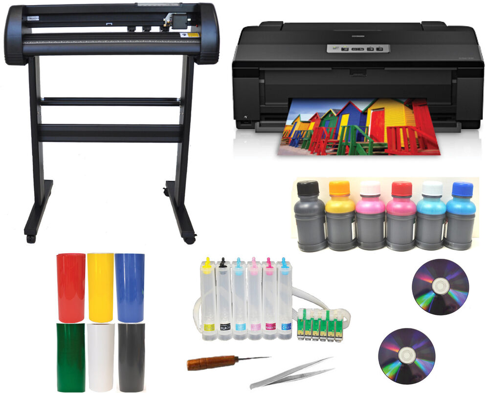 Metal Vinyl Cutter Plotter Epson 1430 Ciss Dye Ink Heat