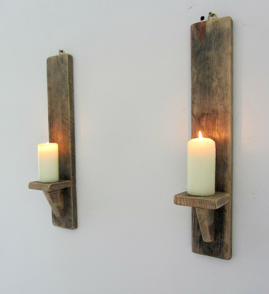 Wooden Wall Sconces For Candles : PAIR OF 45CM RECYCLED PALLET WOOD SHABBY CHIC WALL SCONCE CANDLE HOLDER eBay