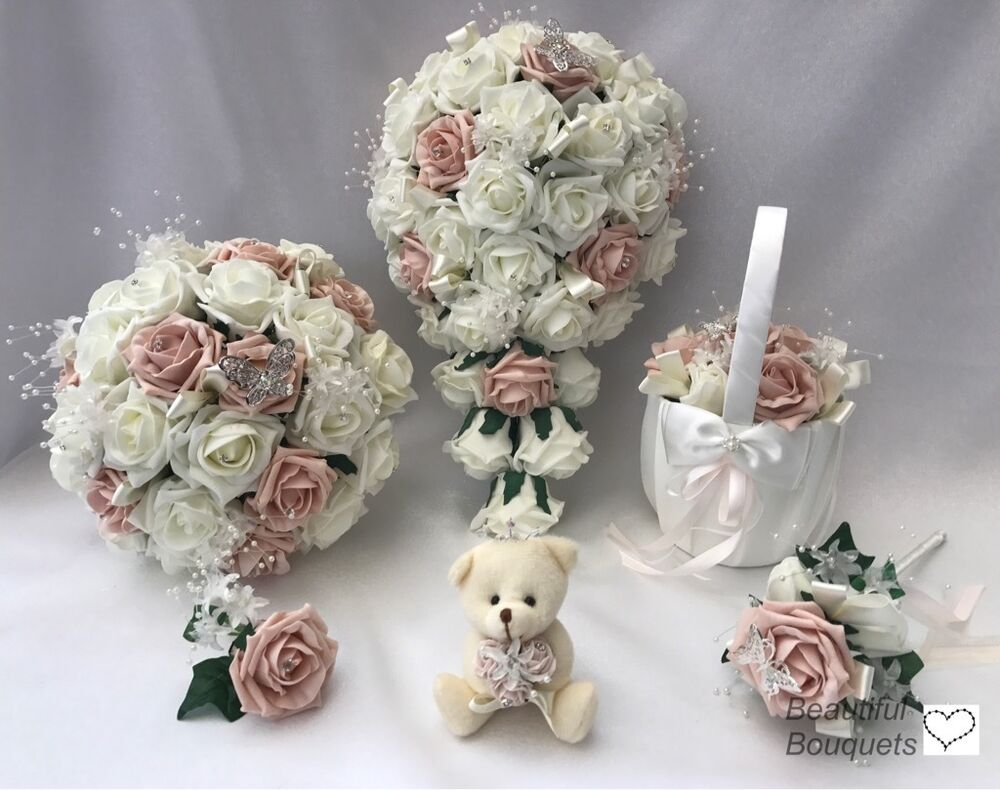 wedding flowers ivory rose crystal bouquet bride bridesmaid flower girl wand ebay. Black Bedroom Furniture Sets. Home Design Ideas