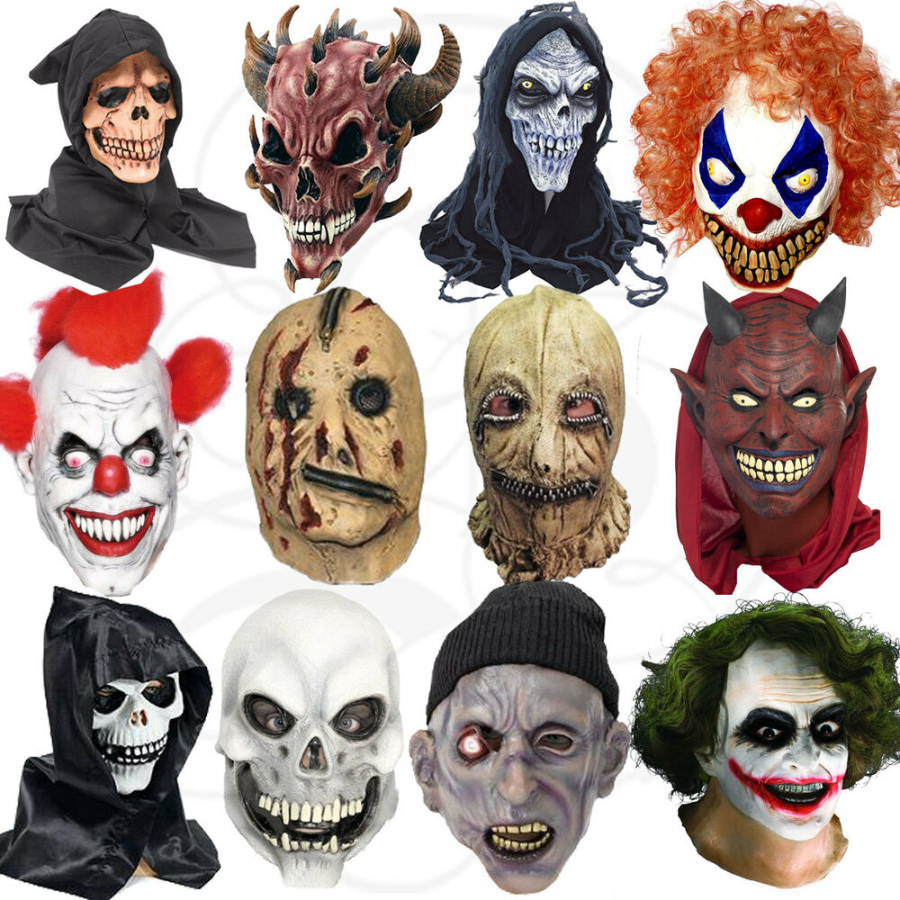 Latex halloween costume overhead clown zombies werewolf for Caretas disfraces
