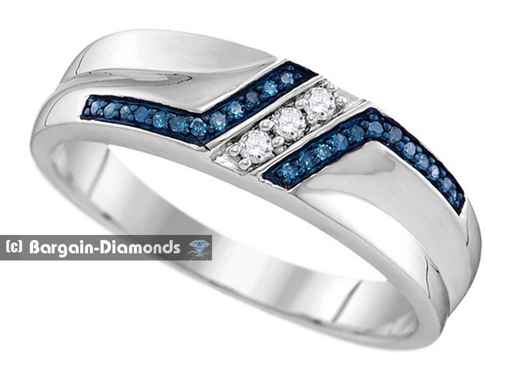 Mens blue white diamond 20 carat wedding ring band 925 for Mens wedding ring with blue diamonds