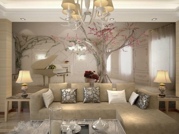 Home 3d wallpaper bedroom mural roll luxury modern tree for Home wallpaper ebay
